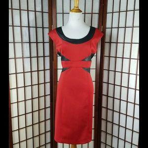 RONNI NICOLE Faux Leather Trim Sheath Dress